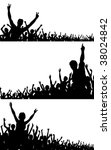 set of three crowd silhouettes   Shutterstock . vector #38024842