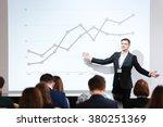 smiling charismatic speaker... | Shutterstock . vector #380251369