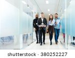 full length of group of happy... | Shutterstock . vector #380252227