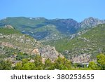 Small photo of Mount Gerania in Greece at sunny summer day, near Loutraki.