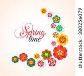 spring flowers banner. vector... | Shutterstock .eps vector #380256079