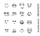 set of hand drawn funny faces.... | Shutterstock .eps vector #380264029