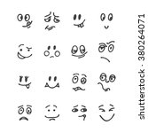 set of hand drawn funny faces.... | Shutterstock .eps vector #380264071