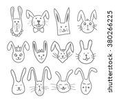 cute doodle bunny faces. pet... | Shutterstock .eps vector #380266225