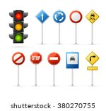 traffic light and road sign set.... | Shutterstock .eps vector #380270755