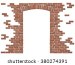 Arch In The Wall Of Red Brick....