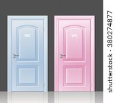 two doors toilets pink and blue ... | Shutterstock .eps vector #380274877