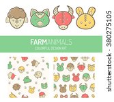 children's design kit with farm ... | Shutterstock .eps vector #380275105
