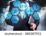 businessman pressing button on...   Shutterstock . vector #380287921