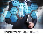 businessman pressing button on...   Shutterstock . vector #380288011