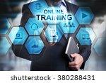businessman pressing button on...   Shutterstock . vector #380288431