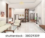 a living room with white sofa | Shutterstock . vector #38029309