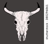 hand drawn buffalo skull native ... | Shutterstock .eps vector #380296861