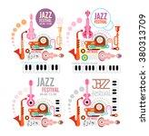 four variants of jazz festival... | Shutterstock .eps vector #380313709