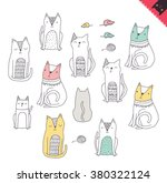 doodle cats. | Shutterstock .eps vector #380322124