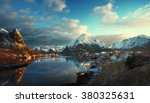 snow in reine village  lofoten... | Shutterstock . vector #380325631