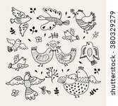 Funny Vector Hand Drawn Birds....