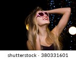 beautiful blonde energetic... | Shutterstock . vector #380331601