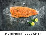 raw salmon fish steak with...   Shutterstock . vector #380332459
