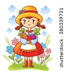 girl with vegetables in the... | Shutterstock .eps vector #380339731