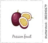 passion fruit with slice.... | Shutterstock .eps vector #380340679