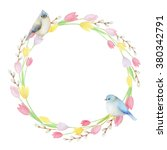 watercolor round frame of... | Shutterstock . vector #380342791