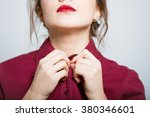 beautiful girl buttoning shirt  ... | Shutterstock . vector #380346601