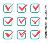 check mark icons. red tick...   Shutterstock .eps vector #380351791