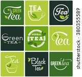 set of tea symbols and... | Shutterstock .eps vector #380355589