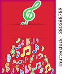 red music note poster.vector  | Shutterstock .eps vector #380368789