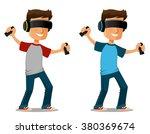 cartoon guy using virtual... | Shutterstock .eps vector #380369674