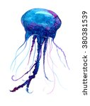 jellyfish watercolor... | Shutterstock . vector #380381539