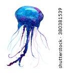 jellyfish watercolor... | Shutterstock . vector #380381539