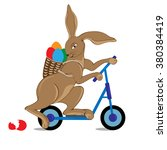 bunny on a kick scooter.... | Shutterstock .eps vector #380384419