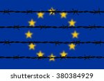 blurred european union flag and ... | Shutterstock .eps vector #380384929