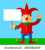 funny court jester  holding a... | Shutterstock .eps vector #380386069