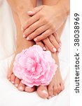 sexy female feet and hands with ... | Shutterstock . vector #38038969