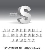 3D Alphabet template.Volumetric alphabet design | Shutterstock vector #380395129
