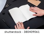 artist workplace  hands on the... | Shutterstock . vector #380409061
