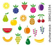 berries and fruits set  color... | Shutterstock .eps vector #380411554