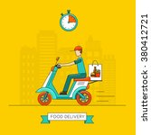 food delivery on scooter. | Shutterstock .eps vector #380412721