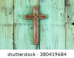 Wood Cross With Rope Hanging On ...