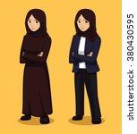 manga muslim woman cartoon... | Shutterstock .eps vector #380430595