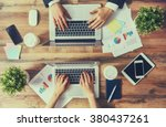 man and woman working on their... | Shutterstock . vector #380437261