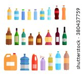 Plastic Bottle Set Design Flat...