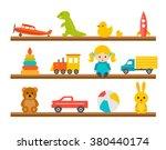 children toys on wooden shelves ... | Shutterstock .eps vector #380440174
