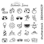 set of summer themed icon... | Shutterstock .eps vector #380444029