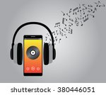 listening music with cellphone... | Shutterstock .eps vector #380446051