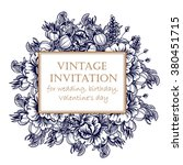 invitation with floral... | Shutterstock . vector #380451715