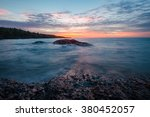 Sunset with Colorful Sky on Lake Superior at Copper Harbor in Michigan